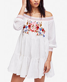 Free People Sun Beams Embroidered Off-The-Shoulder Mini Dress