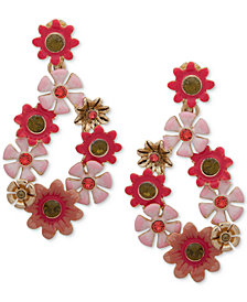 Anne Klein Gold-Tone Stone Flower Drop Earrings