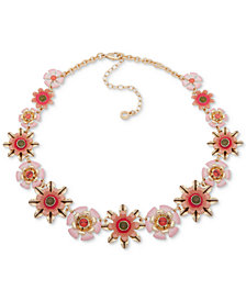 "Anne Klein Gold-Tone Flower Link Collar Necklace, 16"" + 3"" extender"