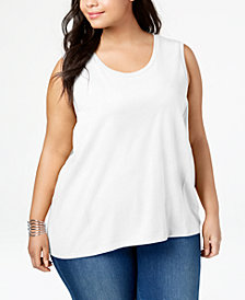 Style & Co Plus Size Cotton High-Low Hem Sleeveless Top, Created for Macy's