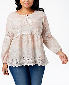 Style & Co Plus Size Cotton Printed Eyelet Peasant Top, Created for Macy's
