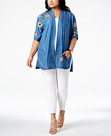 Style & Co Plus Size Summer Tide Embroidered Kimono, Created for Macy's