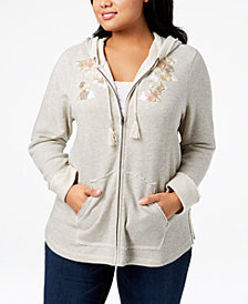 Style & Co Plus Size Embroidered Zip Hoodie, Created for Macy's