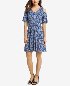 Karen Kane Printed Cold-Shoulder Dress 6194761