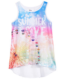 Epic Threads Graphic-Print Chiffon-Back Tank Top, Big Girls, Created for Macy's