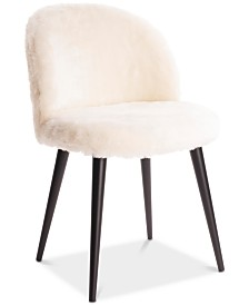 Elle Decor Laurel Faux Fur Accent Chair, Quick Ship