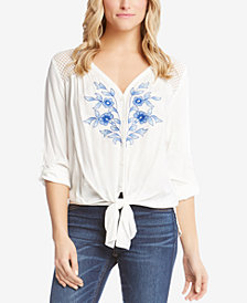 Karen Kane Tie-Front Embroidered Top