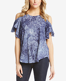 Karen Kane Cold-Shoulder Flutter-Sleeve Top