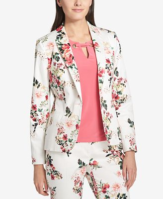 Tommy Hilfiger Floral Print One Button Blazer Jackets Women Macy S