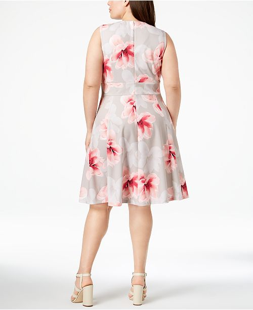 22fa54e23b5 Calvin Klein Plus Size Floral-Print Fit   Flare Dress   Reviews ...