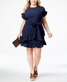 MICHAEL Michael Kors Plus Size Ruffled Wrap Dress