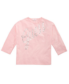 GUESS Big Girls Rhinestone Three-Quarter-Sleeve T-Shirt
