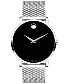 Men's Swiss Museum Classic Stainless Steel Mesh Bracelet Watch 40mm