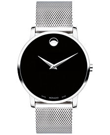 Movado Men's Swiss Museum Classic Stainless Steel Mesh Bracelet Watch 40mm