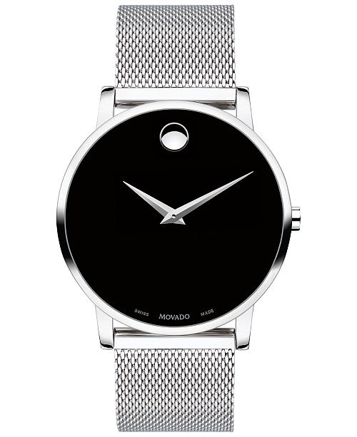 Movado Unisex Swiss Museum Classic Stainless Steel Mesh Bracelet Watch 40mm