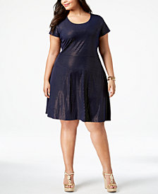 MICHAEL Michael Kors Plus Size Metallic Dot-Print Dress