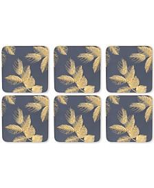 Pimpernel Etched Leaves Set of 6 Navy Coasters