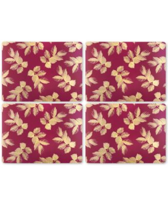 Etched Leaves (Pink) Set of 4 Placemats