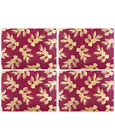 Pimpernel Etched Leaves (Pink) Set of 4 Placemats