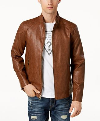 Guess Men S Faux Leather Moto Jacket Coats Jackets Men Macy S