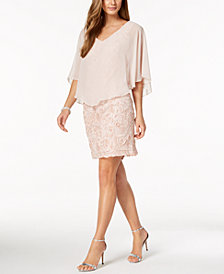 Connected Petite Soutache Chiffon Capelet Dress
