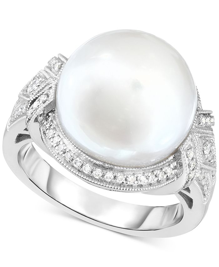 Macy's - Cultured South Sea Pearl (13mm) & Diamond (1/3 ct. t.w.) Ring in 14k White Gold