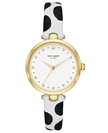 kate spade new york Women's Holland Black & White Leather Strap Watch 34mm