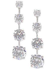 Silver-Tone Cubic Zirconia Linear Drop Earrings
