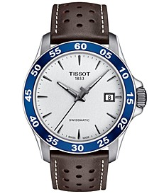 Men's Swiss Automatic T-Sport V8 Brown Leather Strap Watch 42.5mm