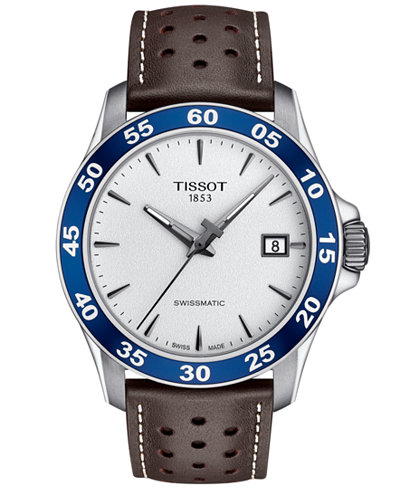 Tissot Men's Swiss Automatic T-Sport V8 Brown Leather Strap Watch 42.5mm