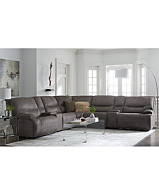 Felyx Fabric Power Reclining Sectional Sofa Collection with Power Headrests, Console And USB Power Outlet