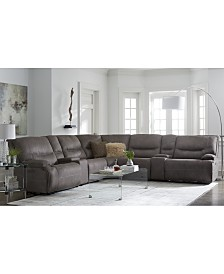 Felyx 7-Pc. Fabric Sectional Sofa With 2 Power Recliners, Power Headrests, 2 Consoles And USB Power Outlet