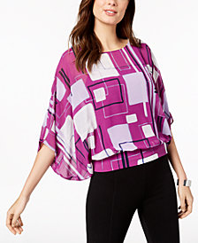 Alfani Printed Batwing-Sleeve Top, Created for Macy's