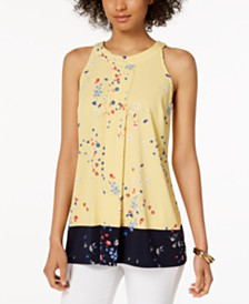 Charter Club Petite Colorblocked Floral-Print Top, Created for Macy's
