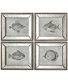 Uttermost Mirrored Fish 4-Pc. Framed Wall Art Set