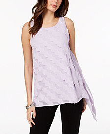 Alfani Petite Asymmetric Scallop Top, Created for Macy's