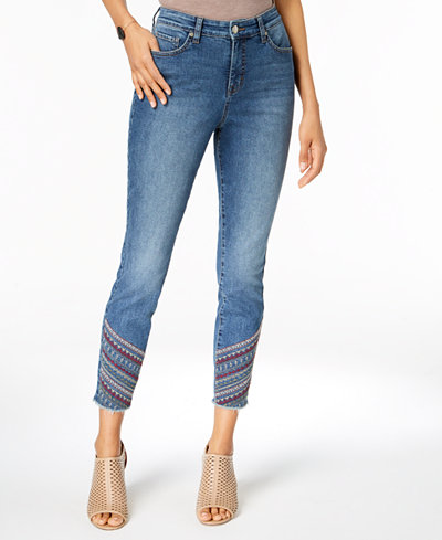 Style & Co Petite Embroidered Frayed-Hem Skinny Ankle Jeans, Created for Macy's