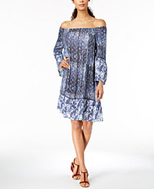 Style & Co Printed Off-The-Shoulder Dress, Created for Macy's