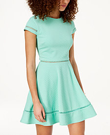 City Studios Juniors' Textured Fit & Flare Dress
