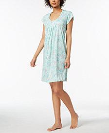 Miss Elaine Floral-Print Ruffle-Trim Nightgown