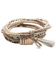 lonna & lilly Gold-Tone Pavé Wishbone & Tassel Magnetic Wrap Bracelet