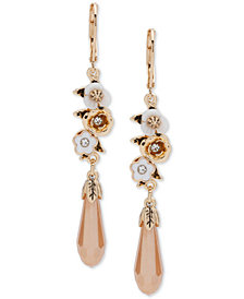 lonna & lilly Gold-Tone Crystal & Flower Drop Earrings