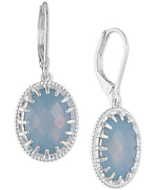 lonna & lilly Silver-Tone Oval Stone Drop Earrings