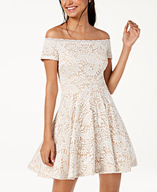 B Darlin Juniors' Off-The-Shoulder Lace Fit & Flare Dress