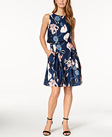 Ivanka Trump Floral-Print Popover Dress