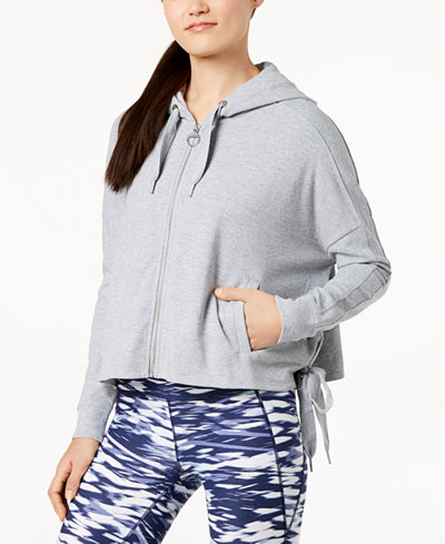 Calvin Klein Performance Side-Tie Zip Cropped Hoodie