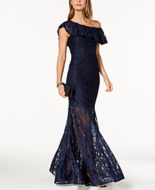 XSCAPE One-Shoulder Ruffled Lace Illusion Gown