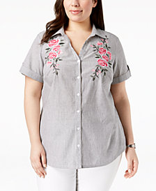 Karen Scott Plus Size Cotton Embroidered Shirt, Created for Macy's