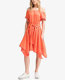 DKNY Off-The-Shoulder Linen Dress, Created for Macy's