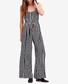 Free People City Girl Striped Wide-Leg Jumpsuit